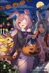1boy 1girl animal animal_ear_fluff animal_ears artist_name bandage_over_one_eye bangs bird black_jacket black_pants blue_eyes blue_hair blurry blurry_background bow candy character_request commentary depth_of_field dragalia_lost english_commentary eyebrows_visible_through_hair eyepatch food full_moon fur-trimmed_jacket fur_trim halloween halloween_basket headpiece hentaki highres holding jacket jupiter_(dragalia_lost) ketchup ketchup_bottle lollipop long_hair melsa moon night night_sky open_clothes open_jacket outdoors pants parted_bangs pink_hair purple_bow rabbit_ears red_vest short_shorts shorts sky swirl_lollipop very_long_hair vest violet_eyes watermark web_address white_shorts