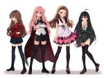4girls ahoge aisaka_taiga black_footwear black_hair black_legwear black_skirt blazer bow bowtie bread brown_eyes brown_footwear brown_hair cape crossed_arms dress_shirt finger_to_mouth flat_chest food frown full_body gradient_hair green_skirt hand_on_hip highres holding holding_food idolmaster idolmaster_(classic) jacket kugimiya_rie loafers long_hair looking_at_viewer louise_francoise_le_blanc_de_la_valliere luicent mary_janes melon_bread minase_iori miniskirt multicolored_hair multiple_girls pink_eyes pink_hair pleated_skirt red_jacket riding_crop sailor_collar school_uniform seiyuu_connection serafuku shakugan_no_shana shana shirt shoes skirt standing thigh-highs toradora! very_long_hair violet_eyes white_background white_shirt zero_no_tsukaima zettai_ryouiki