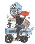 1girl :d autumn_leaves bag bangs black_jacket black_legwear blue_eyes blue_footwear blue_hair blue_headwear blue_skirt boots brown_shirt commentary_request cross-laced_footwear denim denim_skirt full_body ginkgo_leaf hair_between_eyes hand_puppet helmet jacket lace-up_boots long_hair long_sleeves motocompo motorcycle_helmet open_clothes open_jacket open_mouth original pantyhose parted_bangs puppet red_scarf scarf shark_girl_(yukimoto_shuuji) shirt shoulder_bag simple_background skirt smile solo white_background yukimoto_shuuji_(gurigura)