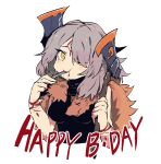 1girl axe axehorn_(ssambatea) borrowed_character ddari eating english_text grey_hair hair_over_one_eye happy_birthday highres holding looking_at_viewer one_eye_covered original pelt simple_background solo tears white_background yellow_eyes