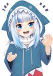 1girl :d bangs blue_eyes blue_hair blue_hoodie blunt_bangs claw_pose commentary drawstring eyebrows_behind_hair gawr_gura highres hololive hololive_english hood hood_up hoodie long_hair long_sleeves looking_at_viewer multicolored_hair notice_lines open_mouth sharp_teeth silver_hair simple_background smile solo streaked_hair teeth upper_body virtual_youtuber white_background wide_sleeves zooanime