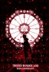 1boy argyle cape character_name checkered checkered_floor copyright_name flower harada_miyuki holding holding_staff light_particles minimalism petals red_theme riddle_rosehearts rose rose_petals short_hair silhouette solo spot_color staff stained_glass standing twisted_wonderland