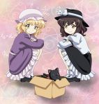 2girls bakeneko black_cat black_footwear black_headwear black_skirt blonde_hair bobby_socks bow brown_hair cat closed_mouth dress fedora frilled_dress frilled_skirt frills full_body hat hat_bow hat_ribbon highres kaenbyou_rin kaenbyou_rin_(cat) maribel_hearn mary_janes math mob_cap multiple_girls purple_dress red_neckwear remyfive ribbon shirt shoes short_hair simple_background skirt smile socks squatting touhou usami_renko wavy_hair white_headwear white_legwear white_shirt yellow_eyes