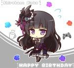 1girl bang_dream! bangs bare_shoulders black_dress black_footwear black_hair black_sleeves blunt_bangs blush boots character_name commentary_request cup detached_sleeves dress eyebrows_visible_through_hair feathers flower flying_sweatdrops frilled_dress frills full_body grey_background grey_ribbon hair_feathers hair_flower hair_ornament hand_up happy_birthday highres knee_boots long_hair looking_at_viewer parted_lips playstation_controller purple_dress rose shirokane_rinko sidelocks sleeveless sleeveless_dress solo standing teen_(teen629) two-tone_dress violet_eyes white_background