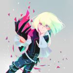 belt biker_clothes bishounen black_gloves black_jacket bright_pupils cravat earrings eyebrows_visible_through_hair eyes_visible_through_hair fire gloves green_hair half_gloves jacket jewelry lio_fotia multiple_belts peko_(pepan) pink_fire promare pyrokinesis short_hair signature smile triangle_earrings violet_eyes yellow_pupils