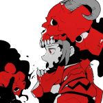 1girl ddari from_side helmet horns monochrome open_mouth original profile red_eyes red_theme simple_background skull_on_head solo tongue tongue_out white_background