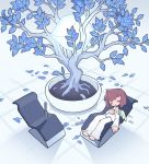 1girl blue_leaf blush brown_hair chair closed_eyes cube glowing knife long_sleeves off-shoulder_shirt off_shoulder original pants plant potted_plant shirt short_hair single_wing sleeping solo syringe tree white_pants white_shirt wide_shot wings yamori_511