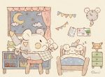 :> apron bed black_eyes book clock clouds commentary_request curtains drawer gen_1_pokemon gen_7_pokemon indoors mian_(user_kwcj2833) moon night no_humans picture_(object) pikachu pokemon pokemon_(creature) signature sitting sleeping solid_oval_eyes star_(sky) stool substitute_(pokemon) togedemaru toy_train under_covers waist_apron watermark window zzz