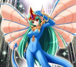 1girl ancient_fairy_dragon arm_up blue_bodysuit bodysuit breasts bunji collarbone commentary_request covered_nipples dragon_girl dragon_tail duel_monster gem green_hair head_fins impossible_bodysuit impossible_clothes insect_wings large_breasts long_hair personification red_eyes solo tail very_long_hair wings yu-gi-oh!
