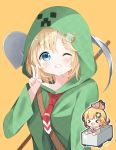 1girl bangs blonde_hair blue_eyes blush chibi chibi_inset commentary cosplay creeparka creeper creeper_(cosplay) deyui eyebrows_visible_through_hair grin hair_ornament highres hololive hololive_english hood hoodie long_sleeves looking_at_viewer minecart minecraft monocle_hair_ornament multiple_views necktie one_eye_closed open_mouth orange_background pickaxe red_neckwear short_hair shovel simple_background smile striped upper_body v virtual_youtuber watson_amelia