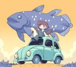1girl black_footwear blush brown_hair car clouds cloudy_sky dog fish ground_vehicle long_sleeves motor_vehicle no_nose original outdoors plant shoes short_hair sky solo surreal violet_eyes yamori_511 yellow_sky