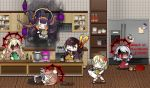 !? 6+girls :3 affliction_(darkest_dungeon) alternate_costume anger_vein apron bangs black_ribbon blonde_hair bottle bowl brown_hair cabinet chibi chopsticks cigar cooking cross crossed_legs crossover cupboard darkest_dungeon eating english_commentary faucet fire food frying_pan fur_hat girls_frontline glass_bottle gloves green_eyes hair_ornament hair_ribbon hairband hat hat_removed head_bump headwear_removed holding holding_chopsticks hololive hololive_english indoors jacket jar ketchup kettle knife lid long_hair long_sleeves m1903_springfield_(girls_frontline) messy_hair multiple_girls nagant_revolver_(girls_frontline) necktie ninomae_ina'nis noodles o_o one_side_up open_mouth oven plate possessed pot purple_hair r'lyeh red_eyes refrigerator ribbon s.a.t.8_(girls_frontline) shelf shirt sidelocks silver_hair sink smile spas-12_(girls_frontline) spatula spiral_eyes spoon stove summoning tentacles the_mad_mimic thompson_(girls_frontline) tile_wall tiles translated ventilation_shaft very_long_hair virtual_youtuber wa2000_(girls_frontline) white_headwear white_jacket white_shirt wooden_floor writing_on_wall
