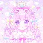 1girl :o animal_ears bangs bare_shoulders blue_bow blush bow braid commentary_request crown diagonal_stripes eyebrows_visible_through_hair frilled_bow frills hair_bow hands_up himetsuki_luna long_hair looking_at_viewer mini_crown original parted_lips pennant pink_bow pink_hair polka_dot purple_background purple_hair rabbit_ears signature solo string string_of_fate striped upper_body vertical_stripes wrist_cuffs yellow_bow