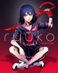 1girl artist_name behind_back black_hair blue_eyes character_name collarbone datcravat highres holding holding_sword holding_weapon indian_style kill_la_kill looking_at_viewer matoi_ryuuko school_uniform scissor_blade senketsu serafuku shadow sitting solo sword v-shaped_eyebrows weapon