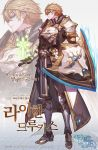 1boy armor blonde_hair breastplate chyan green_eyes highres holding holding_shield korean_text latin_cross logo looking_at_viewer looking_to_the_side magic male_focus metal_boots neverdie_extra official_art pants pauldrons pelvic_curtain profile shield shoulder_armor sideways_glance solo standing translation_request watermark zoom_layer