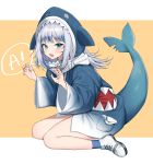 1girl absurdres animal_hood bare_legs blue_hair blue_hoodie blue_legwear blue_nails blush catchphrase claw_pose commentary cross-laced_footwear english_commentary eyebrows_visible_through_hair fangs full_body gawr_gura highres hololive hololive_english hood long_hair looking_at_viewer mashilemo multicolored_hair nail_polish open_mouth orange_background shark_hood shark_tail sharp_teeth shoes silver_hair simple_background sitting socks solo speech_bubble streaked_hair symbol_commentary tail teeth thighs two-tone_hair virtual_youtuber wariza white_footwear wide_sleeves