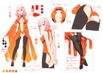 1girl absurdres bare_shoulders boots breasts center_opening character_name character_profile character_sheet detached_sleeves fingerless_gloves from_behind full_body gloves guilty_crown hair_ornament hairclip highres medium_breasts midriff multiple_views pink_hair sarina_(tosiyukiryousuke) shoes standing turnaround twintails white_background yuzuriha_inori