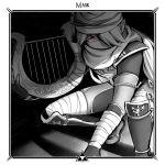 bandaged_arm bandaged_leg bandages border english_commentary english_text hair_over_one_eye harp instrument maskedgolem monochrome pointy_ears red_eyes sheik sheikah spot_color surcoat the_legend_of_zelda the_legend_of_zelda:_ocarina_of_time