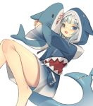 1girl :d animal_hood bare_legs barefoot blue_eyes blue_hair blue_hoodie blush commentary_request drawstring gawr_gura hololive hololive_english hood hood_up hoodie kildir knees_together_feet_apart long_sleeves looking_at_viewer multicolored_hair object_hug open_mouth outstretched_arms shark_hood shark_tail sharp_teeth silver_hair simple_background sleeves_past_wrists smile solo streaked_hair stuffed_animal stuffed_shark stuffed_toy tail teeth virtual_youtuber white_background