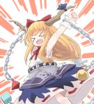 >_< 1girl arms_up blonde_hair blue_dress blue_ribbon blush bow chain cowboy_shot cube dress emphasis_lines fang hair_bow horn_ornament horn_ribbon horns ibuki_suika kibisake long_hair neck_ribbon open_mouth pyramid_(geometry) red_bow red_neckwear ribbon shirt sleeveless sleeveless_shirt smile solo sphere torn_clothes torn_sleeves touhou white_shirt wrist_cuffs