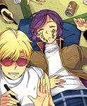 2boys bare_shoulders blonde_hair can char_aznable closed_eyes garma_zabi grin gundam itsmefool marker military military_uniform mobile_suit_gundam_the_origin multiple_boys prank purple_hair short_hair sleeping smile soda_can sunglasses sweater trolling turtleneck turtleneck_sweater uniform younger