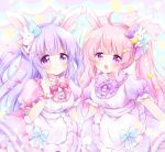 2girls absurdres animal_ears apron bow bowtie breasts bunny_hair_ornament chiika_(cure_cherish) cowboy_shot dress hair_bow hair_ornament hairclip highres long_hair maid_apron multiple_girls original pink_hair puffy_short_sleeves puffy_sleeves purple_hair rabbit_ears scrunchie short_sleeves star_(symbol) two_side_up violet_eyes