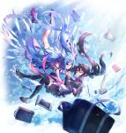 2girls bag bangs black_hair black_legwear black_skirt blue_eyes blue_hair book breasts brown_cardigan brown_footwear bubble_tea cardigan cellphone closed_mouth collared_shirt commentary_request cup disposable_cup dress eraser eye_contact eyebrows_visible_through_hair hair_between_eyes hatsune_miku highres liebe loafers long_hair looking_at_another medium_breasts multiple_girls neckerchief parted_lips pencil phone pleated_dress pleated_skirt protractor purple_footwear red-framed_eyewear red_neckwear ruler school_bag semi-rimless_eyewear shirt shoe_soles shoes single_thighhigh skirt smile stationery thigh-highs twintails under-rim_eyewear very_long_hair vocaloid white_dress white_legwear white_shirt