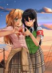 2girls absurdres aihara_mei aihara_yuzu armband bangs black_hair black_neckwear blonde_hair bow bowtie braid brown_skirt brown_sweater buttons citrus_(saburouta) clothes_around_waist clouds earrings fingernails green_eyes green_shirt green_sweater_vest hair_between_eyes hand_on_another's_back hand_on_another's_shoulder highres hoop_earrings jewelry long_hair multiple_girls necktie open_mouth outdoors pink_nails pink_shirt plaid plaid_skirt power_lines red_neckwear school_uniform shirt skirt sky step-siblings sweater sweater_around_waist sweater_vest sweet_reverie utility_pole violet_eyes wife_and_wife yuri