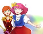 2girls cosplay gacha-m green_eyes gundam gundam_zz haman_karn heart holding holding_staff looking_to_the_side magical_girl mineva_lao_zabi minky_momo minky_momo_(cosplay) multiple_girls one_eye_closed orange_hair pink_hair short_hair staff super_robot_wars super_robot_wars_x-omega surprised violet_eyes younger zeon