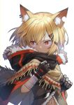 1girl animal_ear_fluff animal_ears arknights bandaged_arm bandages bangs black_cloak black_gloves blonde_hair cloak commentary_request ear_piercing eyebrows_visible_through_hair fang_necklace fingerless_gloves fox_ears fur-trimmed_cloak fur_trim gloves hair_between_eyes hair_ornament hairclip highres hood hood_down hooded_cloak jewelry looking_to_the_side mechanical_arm mitake_eil navel necklace notched_ear orange_eyes piercing poncho prosthesis prosthetic_arm short_hair sidelocks signature simple_background single_fingerless_glove solo standing upper_body vermeil_(arknights) white_background