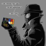 1boy black_coat black_gloves black_headwear coat commentary english_commentary fedora from_side gloves grey_background hand_up hat high_collar holding long_sleeves male_focus nymika profile rubik's_cube simple_background speech_bubble spider-man:_into_the_spider-verse spider-man_(series) spider-man_noir upper_body