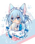 1girl alternate_costume animal_ear_fluff animal_ears apron bangs blue_bow blue_eyes bow braid character_name covered_mouth eyebrows_visible_through_hair firuo_(king_fish) hair_between_eyes hair_bow holding holding_plate koyomi_(shironeko_project) light_blue_hair looking_at_viewer maid maid_apron maid_headdress paw_print pink_legwear plate shironeko_project sitting solo tail thick_eyebrows twin_braids wariza wolf_ears wolf_girl wolf_tail