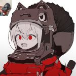 1girl :d animal_ears animal_ears_helmet cat_ears circular_saw ddari fang helmet limited_palette open_mouth original personification red_eyes reference_photo reference_photo_inset saw simple_background smile solo space_helmet white_background