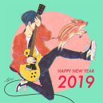 1boy 2019 black_hair black_pants chinese_zodiac circle covering_face dated earrings electric_guitar full_body guitar happy_new_year instrument jacket jewelry long_sleeves new_year original pants red_jacket shirt shoes signature solo takigraphic white_shirt year_of_the_pig