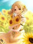 1girl :d blonde_hair blush brown_eyes dress field flower flower_field hair_flower hair_ornament hair_ribbon highres ichikawa_hinana idolmaster idolmaster_shiny_colors looking_at_viewer open_mouth pinafore_dress ribbon short_twintails sidelocks sky smile solo standing sunflower twintails yahiro_(ya_hiro) yellow_dress