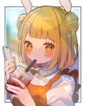 1girl bangs blonde_hair blunt_bangs blurry blush bokeh border breasts bubble_tea cellphone chikuwa_(tikuwaumai_) commentary_request cup depth_of_field double_bun dress drinking drinking_straw drinking_straw_in_mouth eyebrows_visible_through_hair haniwa_(statue) highres holding holding_cup holding_phone jewelry joutouguu_mayumi lens_flare medium_breasts multicolored multicolored_nails nail_polish orange_dress orange_nails phone puffy_short_sleeves puffy_sleeves ring shirt short_hair short_sleeves smartphone solo touhou upper_body white_shirt yellow_eyes yellow_nails