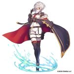 1girl bangs black_cape black_gloves blue_fire bodysuit breasts cape commentary_request covered_navel fire fur_trim glasses gloves grey_hair highres looking_at_viewer medium_breasts official_art original red_cape short_hair simple_background solo tubumi white_background white_bodysuit