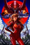 1girl bangs bodysuit breasts dave_rapoza double-blade end_of_evangelion eva_02 forest hand_on_hip highres interface_headset mass_production_eva medium_breasts nature neon_genesis_evangelion orange_hair plugsuit red_bodysuit smirk souryuu_asuka_langley