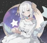 1girl absurdres ars_almal back_bow blue_eyes blush bow choker collarbone crescent_moon dress eyebrows_visible_through_hair hair_ornament highres long_sleeves looking_at_viewer moon nijisanji omochi_chowder sitting sky smile solo star_(sky) star_(symbol) star_choker starry_sky symbol_commentary virtual_youtuber white_dress white_hair