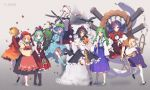 6+girls aki_minoriko aki_shizuha apron backpack bag barefoot blonde_hair blue_eyes blue_hair boots crowbar detached_sleeves dress front_ponytail geta green_eyes green_hair hair_ornament hat hoop inubashiri_momiji kagiyama_hina kawashiro_nitori kochiya_sanae leaf_hair_ornament lineup long_hair long_sleeves looking_at_viewer medium_hair moriya_suwako mountain mountain_of_faith multiple_girls onbashira propeller purple_hair red_eyes rubber_boots shameimaru_aya short_hair simple_background skirt skirt_set snake tengu-geta thigh-highs tokin_hat touhou water waterfall white_hair yasaka_kanako yellow_eyes