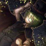 1girl alternate_costume antennae backlighting bangs black_shorts black_vest buttons cape collared_shirt commentary_request commission cravat denpa_rasaito dutch_angle fireflies gloves green_eyes green_hair grey_neckwear hair_between_eyes hat highres holding holding_clothes holding_hat holding_scepter jewelry long_sleeves looking_at_viewer monocle open_mouth red_cape scepter shirt short_hair shorts skeb_commission smile solo star_(sky) top_hat touhou upper_body vest white_gloves white_shirt wriggle_nightbug