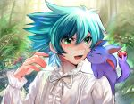 1boy :3 :d blue_hair creature creature_on_shoulder crystal_beast_ruby_carbuncle duel_monster forest green_eyes johan_andersen long_sleeves male_focus nature neck_ribbon on_shoulder open_mouth ribbon shirt short_hair sk816 smile white_shirt yu-gi-oh! yu-gi-oh!_gx