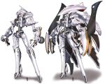 1boy five_star_stories gothicmade_(mecha) highres leaning_back mecha mortar_headd munya_(otikamohe) open_hands original science_fiction size_comparison standing variations white_background yellow_eyes