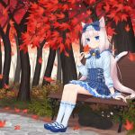 1girl animal_ear_fluff animal_ears autumn_leaves bangs bell black_cat blue_bow blue_eyes bow cat cat_ears cat_tail eyebrows_visible_through_hair hair_bow highres jingle_bell long_hair looking_at_viewer low_twintails nekopara nekoze_(s22834712) outdoors shirt sitting skirt slit_pupils smile solo tail twintails vanilla_(nekopara) white_shirt