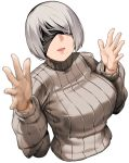 1girl bakkanki black_blindfold blindfold breasts grey_hair hands_up highres large_breasts mole mole_under_mouth nier_(series) nier_automata open_hands ribbed_sweater short_hair smile sweater turtleneck upper_body white_background yorha_no._2_type_b