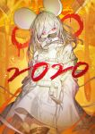 1girl 2020 absurdres animal_ears chinese_zodiac chyan coat commentary covered_mouth english_commentary eyebrows_visible_through_hair head_tilt highres long_sleeves looking_at_viewer mask medium_hair mouse_ears mouth_mask new_year orange_background original red_eyes solo standing straitjacket white_coat white_hair year_of_the_rat