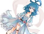 1girl :d blue_dress blue_eyes blue_hair collarbone commentary_request dress drill_hair dutch_angle eyebrows_visible_through_hair feet_out_of_frame flower frills hagoromo hair_ornament hair_rings hair_stick highres kaku_seiga knee_up looking_to_the_side medium_hair ofuda open_mouth petticoat puffy_short_sleeves puffy_sleeves shawl short_sleeves simple_background smile solo touhou vest white_background white_vest zabuton_(mgdw5574)