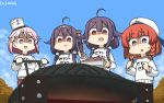 4girls ahoge alternate_costume blonde_hair blue_sky bob_cut braid clothes_writing clouds commentary_request dated day dual_persona etorofu_(kantai_collection) food giuseppe_garibaldi_(kantai_collection) gradient_hair grill hair_flaps hairband hamu_koutarou hat highres kantai_collection low_twintails meat mini_hat multicolored_hair multiple_girls outdoors pants pink_eyes pink_hair purple_hair red_eyes redhead ryuuhou_(kantai_collection) shaded_face short_hair side_braid sky standing streaked_hair sweater taigei_(kantai_collection) thick_eyebrows tongs track_pants twin_braids twintails violet_eyes white_hairband white_headwear white_sweater