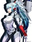 1girl android blue_hair breasts cowboy_shot datcravat eyebrows_visible_through_hair hair_between_eyes highres joints labrys_(persona) long_hair mechanical_arms mechanical_parts parted_lips persona persona_4:_the_ultimate_in_mayonaka_arena red_eyes robot robot_joints simple_background solo standing twitter_username very_long_hair white_background
