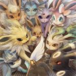 :< artist_name blue_eyes brown_eyes brown_fur cat_teaser closed_mouth commentary_request eevee emphasis_lines espeon flareon gen_1_pokemon gen_2_pokemon gen_4_pokemon gen_6_pokemon glaceon jolteon leafeon momomo12 no_humans open_mouth paws pokemon pokemon_(creature) sylveon umbreon vaporeon violet_eyes watermark